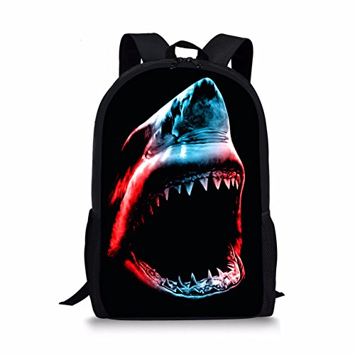 CHAQLIN Shark Printing Backpack Shoulder Bag for Students Teenages Back to School by CHAQLIN