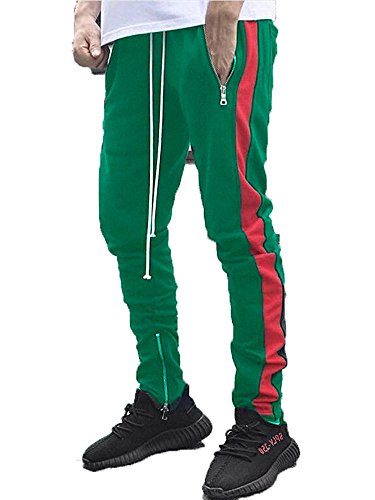 SENSERISE Mens Stretch Hip Hop Ankle Zipper Jogger Pants Side Stripe Track Pants(Green/Red,L)