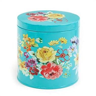 The Pioneer Woman 6 1/2 Turquoise Floral Design Steel Tin Canister