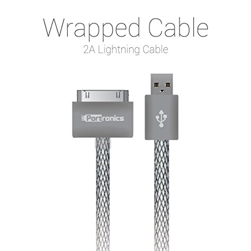 Portronics Tangle Free Charge & Sync Lightning Wrapped Cable For Apple iPhone 4/4s (Space Grey)