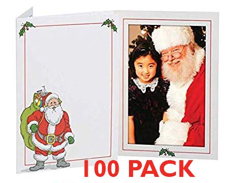 Santa Photo Folder Frame (100 Pack) 5x7 Slide-in Insert by Tap