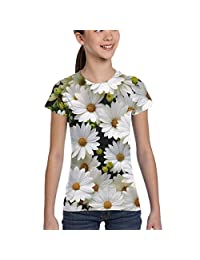 Girls' Short Sleeve Daisy Flowers Shirts, Casual Blouse Clothes, XS-XL