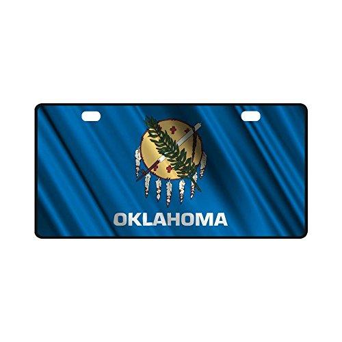 Custom Oklahoma State Flag Classic Car Accessories Auto Durable Metal License Plate Frame Car Tag 11.8 X 6.1 inches (2 Holes) (Flag Car Custom)
