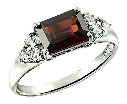 - RB Gems Sterling Silver 925 Ring Genuine Gemstone Emerald-Cut 2.5 Cts, Rhodium-Plated Finish (12, garnet)