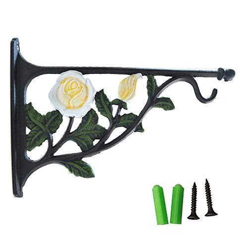 - Fasmov White Rose Wall Plant Hanger Hook Cast Iron Wall Brackets for Planter Bird Feeder Lanterns Wind Chimes Plant Pot Basket with Screw