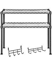 SONGMICS Półka do mikrofalówki, półka kuchenna z 2 poziomami, organizer na stół, z 2 regulowanymi półkami i 8 haczykami, czarny LGR20BK