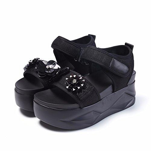 Gtvernh muffin Taco Velcro Puntera Plataforma Impermeable Negro Mujer Flor Taladro Gruesas Zapatos Fondo verano Sandalias De Con Mujer Tacón wrRrIg