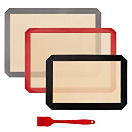 HANTAJANSS Silicone Baking Mat Set of 4, Half Sheets Cooking Macaron Pastry Mats, Professional Non-Stick Large Liner 11 5/8 ×16 1/2 5 THE PERFECT HELPER FOR BAKING: HANTAJANSS Bake mat set of 4 includes 3 most popular daily-use size baking sheets and a bonus oil brush. Solving all baking problems in this time! HIGH-TEMPERATURE RESISTANCE: Oven-safe -45 degrees F up to 480 degrees F! High-quality silicone distribute heat evenly along with the entire baking sheet. NON-STICK: Oil free. Fits half-sheet size pans. Bake food like a professional chef in your own home. No scorching food stick on the baking tray.