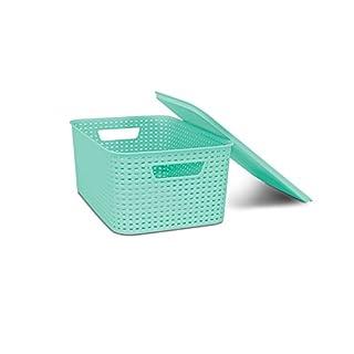 HOMZ Woven Lid, Storage Bin, Stackable, Small, Plastic, Light Blue