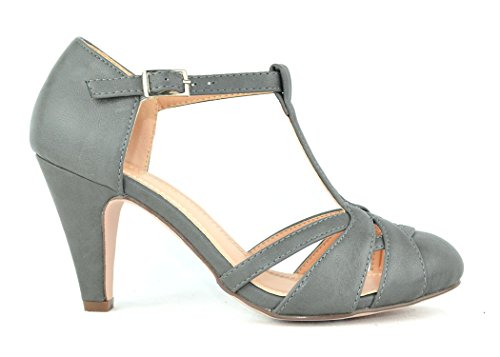 Chase & Chloe Kimmy-63 Womens Vintage Pump Shoes with T-Strap Ankle Closure Grey KOeMdiOC