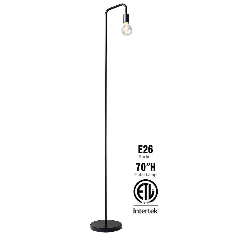 O'Bright Industrial Floor Lamp for Living Room, 100% Metal Lamp, UL Certified Ceramic E26 Socket, Minimalist Design for Decorative Lighting, Stand Lamp for Bedroom/Office/Dorm, ETL Listed, Black