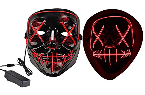 Halloween Mask LED Light up Mask for Halloween Festival Cosplay Halloween Costume Party Decorations (Red)