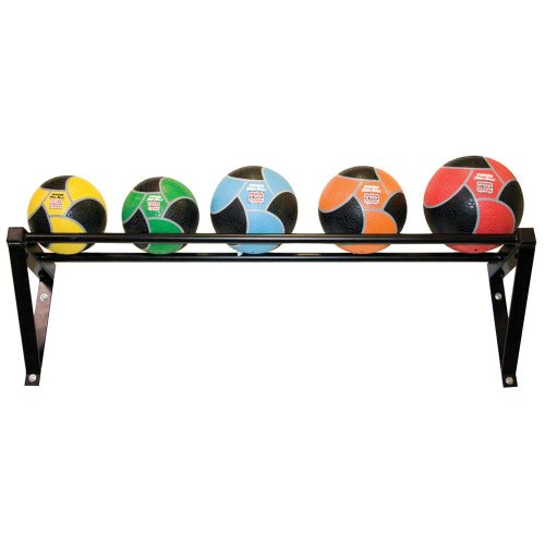 Power Systems Wall-Mounted Medicine Ball Rack/Shelf, 49.5 x 11 x 13 Inches, Black (27187)