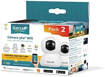 Garza Smarthome - Pack de 2 Cámaras WiFi Inteligentes 360 para Seguridad, HD 720p, visión Nocturna y Zoom, Control por Voz y App, Alexa, iOS, Google, Android: Amazon.es: Electrónica