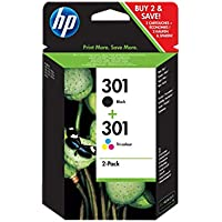 HP N9J72AE Cartucce Originali, 355 Pagine, per Stampanti a Getto di Inchiostro HP DeskJet 1050, 2540, 3050, HP OfficeJet 2620, 4630 e HP ENVY 4500, 5530, Nero/Tricromia 301, Confezione da 2 cartucce