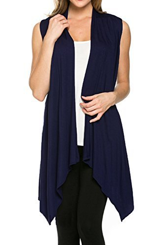 - Azules Womens Solid Color Sleeveless Asymetric Hem Open Front Cardigan (Medium, Navy)