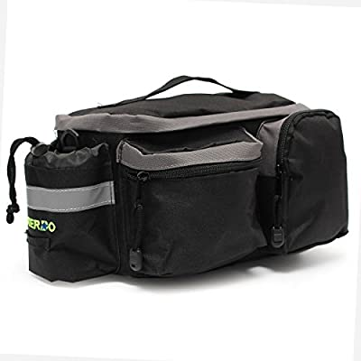 Bicycle Tail Bag,OUTERDO Cycling Bike Rear Seat Trunk Bag Cycling Rack Handbag Multi Function Travel Shoulder Bag Pannier Pouch Trunk Storage Pack with Reflective Tape Design Black