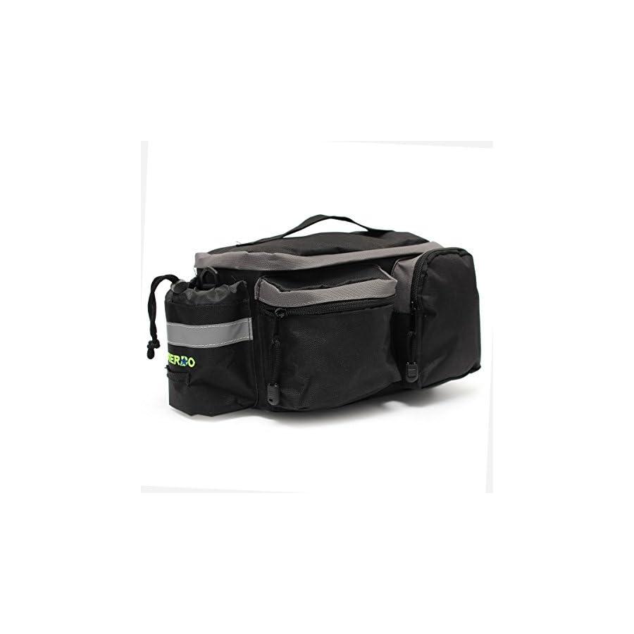 OUTERDO Bike Bag, Bike Pannier Bag Bicycle Tail Bag Rear Seat Trunk Bag Waterproof Nylon Cycling Rack Handbag Multi Function Travel Shoulder Bag Pouch Trunk Storage Pack Reflective Tape