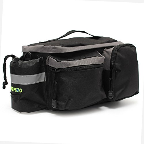 Bike Bag,OUTERDO Bike Pannier Bag Bicycle Tail Bag Rear Seat Trunk Bag Waterproof Nylon Cycling Rack Handbag Multi Function Travel Shoulder Bag Pouch Trunk Storage Pack with Reflective Tape