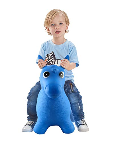 Rubber Bouncy Horse for Toddlers, Red Bouncing Hopper Animals, Kids/Baby/Infant Riding Toys for Girl and Boy, Inflatable Farm Hopping/Hoppity Hop Balls (Blue)]()