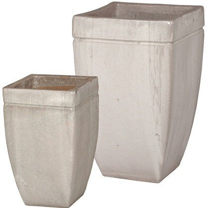 Square Tapered Ceramic Planters - Washed Gray (set of 2) by Emissary