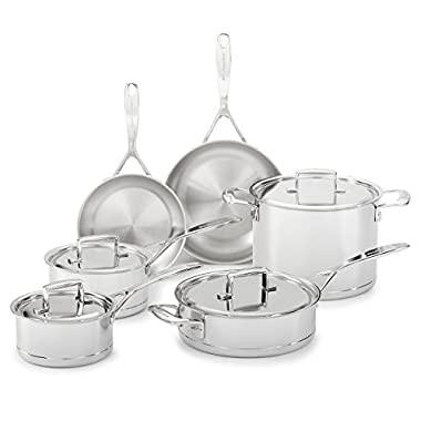 KitchenAid KCC7S10ST Professional 7-Ply Stainless Steel 10-Piece Cookware Set - Stainless Steel