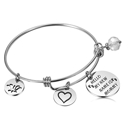 Alxeani New Mom Gifts New Mom Bracelet for for Moms To Be, New Mommy, Pregnant Women & Expecting Mothers - Hello My New Name is (Mothers Mom Name Bracelet)
