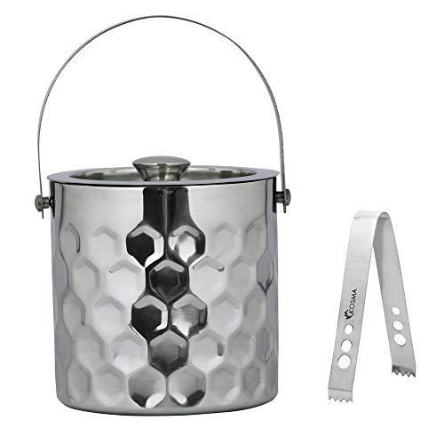 tama/ño 1,5 L Cubitera de acero inoxidable con doble pared y pinzas para hielo Cubo de hielo acabado martillado Kosma Designer