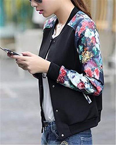 Negro Chaqueta Outdoor Moda Manga Otoño Splice Floreadas Piloto Larga Elegantes Primavera Modernas Abrigos Mujer Vintage Informales Chaquetas Outerwear Bomber qRYxU