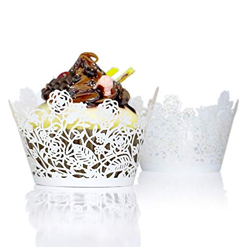 YOZATIA 60pcs White Rose Lace Cupcake Wrappers Holders, Laser Cut Cupcake Liners Decorative Liners for Wedding Party Birthday Cake Decoration - Laser Cupcake Cut