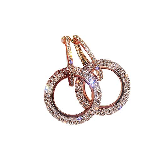Classic Crystal Rhinestone Drop Earrings Double Circle Hypoallergenic Earrings Womens Bridal Jewelry
