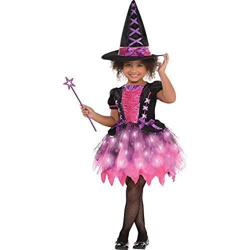 AMSCAN Light-up Sparkle Witch Halloween Costume for Toddler Girls, 3-4T, with Included Accessories]()
