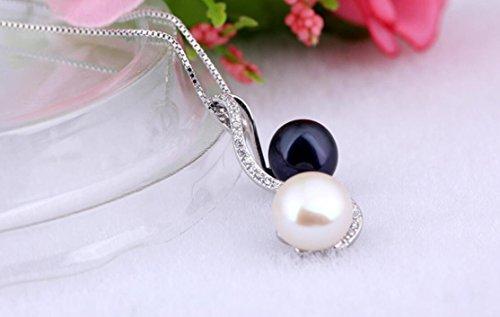 Vormor en argent sterling 9259.0mm Noir et blanc Perles de coquillage pour femme pendentif Collier avec chaîne Argent