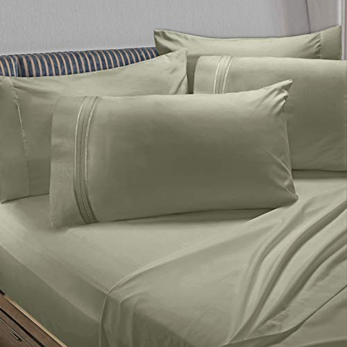 Clara Clark Premier 1800 Collection 6pc Bed Sheet Set with Extra Pillowcases - Queen, Sage Olive Green (Mattress Premiere Product Set)
