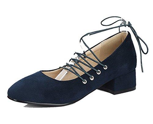7e2ddc5180da95 À Super Légeres Bas Femme Lacet Chaussures Talon fibre Agoolar Bleu Cq5g8tx8