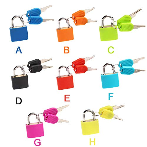 Mini Lock and Key Set Strong Steel Padlock Travel Suitcase Diary Lock with 2 Keys Perfect Padlock for Securing Your Suitcase Jewelry Boxes Gym Locker Tote Mini Fridge Cabinet and More (Pink) by paway (Image #3)