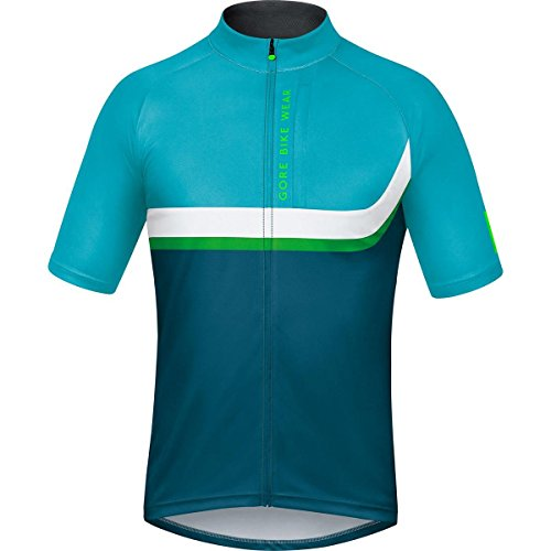 GORE BIKE WEAR, Men´s, Mountain bike short sleeve jersey, Asymmetrical, GORE Selected Fabrics, POWER TRAIL, Size L, Ink Blue/Scuba Blue, SPOWES by Gore Bike Wear