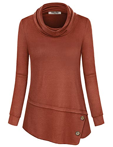 Hibelle Dressy Tops for Women, Long Sleeve Casual Shirts Fashion Cowl Neck Pleated Nice Blouses Stylish Aline Buttons Stretch Lightweight Uneven Slouch Cute Thumbhole Tunic Brown ()