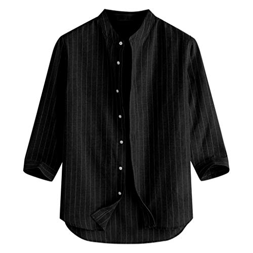 TUSANG Men Tees Summer Casual Striped Stand Collar 7 Points Sleeve Button Cotton Shirt Top Loose Fit Comfy Tunic(Black,US-8/CN-L)