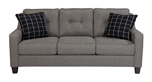 Benchcraft - Brindon Contemporary Sofa Sleeper - Queen Size Mattress and Throw Pillows Included - Charcoal