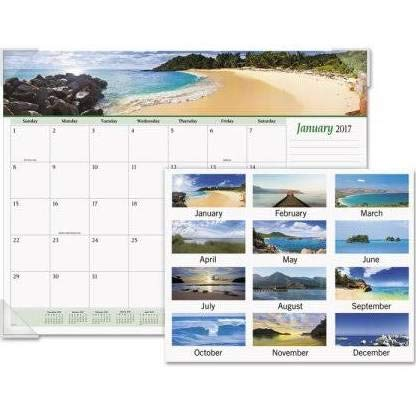 House of Doolittle 2018 Monthly Desk Pad Calendar, Earthscapes Seascapes, 22 x 17 inches, January - December (HOD138-18)