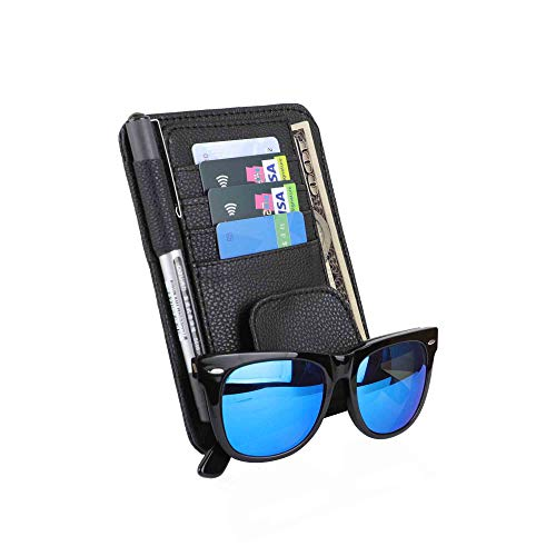 WINKA Car Sun Visor Organizer Storage Auto Accessories for Sunglasses Cards Holder Compatible Vehicle Truck SUV Road Trip Essential Gift for Driver Black