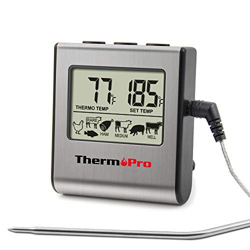 ThermoPro TP-16 Large LCD Digital Cooking Food Meat Thermometer for Smoker Oven Kitchen Candy BBQ Grill Thermometer Clock Timer with Stainless Steel Temperature Probe, Standard, Silver