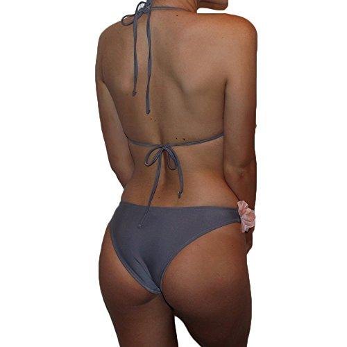 GTKC Mujeres Chicas Ropa De Playa Flores Decoración Cuello Halter Bikini Trajes De Baño Brasileño Triángulo Verano Beachwear Azul