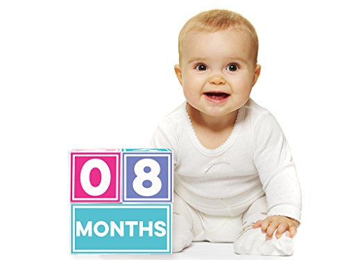 Sticky Bellies Brag Blocks- Baby Age Milestone Blocks for Photos - Neutral - Girls - Boys - 2 Styles Available (Girl)