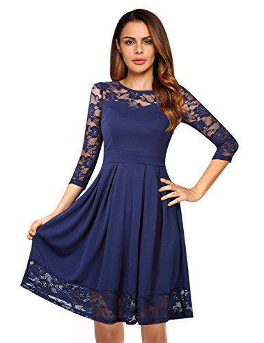 ... KoJooin Damen Elegant Kleider Spitzenkleid Langarm Cocktailkleid  Knielang Rockabilly Kleid Dunkelblau 9gjOr ... 79a5dbdd08