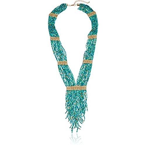cheap Panacea Turq Seed Bead Fringe Y-Shaped Necklace for sale