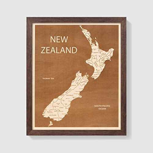 Etched Atlas New Zealand, Country Art - Wall Map (12