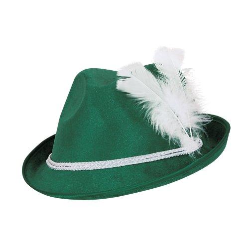Beistle 60208 12-Pack Forest Green Vel-Felt Alpine Hats, Green/White