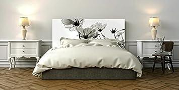 Amazon De Bett Kopfteil Pvc Digitaldruck Weisse Und Graue Blumen
